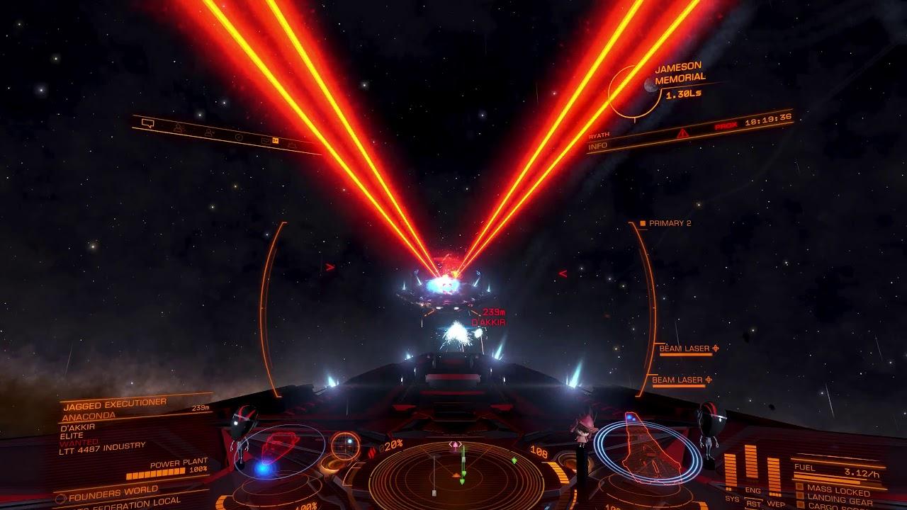 Elite: Dangerous: Federal Corvette - Two Huge Efficient Beam Lasers vs   Elite Anaconda