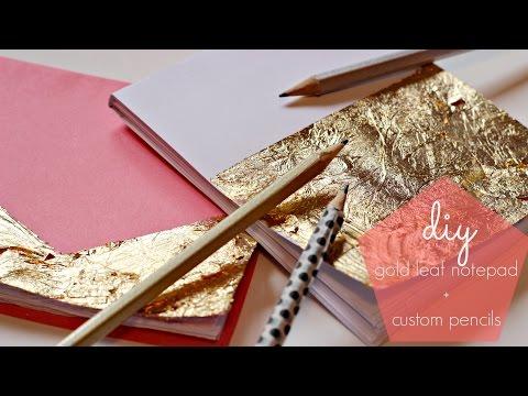 Back To School DIY | Gold Leaf Notebooks + Custom Pencils |