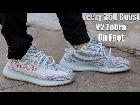 be09b422c Kanye West s Adidas Yeezy 350 Boost V2 Zebra On Feet Review - YouTube