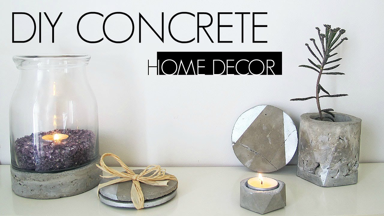 Diy concrete home decor youtube for Home made decorative items