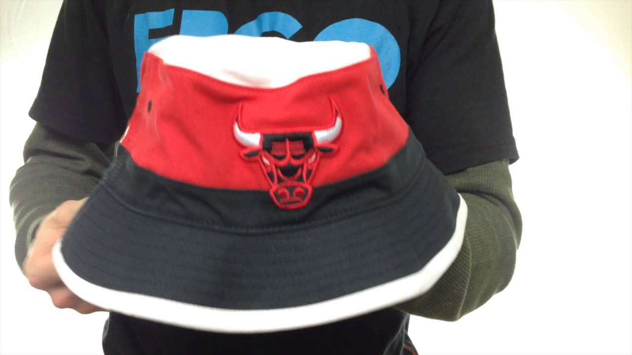 d0d1705e20941 Bulls  COLOR-BLOCK BUCKET  White-Red-Black Hat by Mitchell and Ness ...