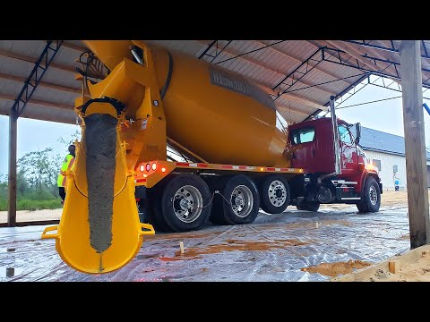 NEW Concrete Truck VERY FIRST Pour! 36x48 Pole Barn Floor!