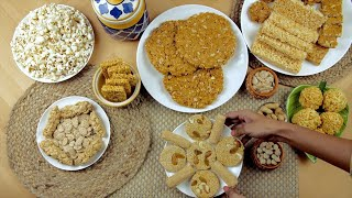 Top view shot of various Lohri items consumed during the winter season in India - Lohri festival