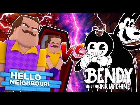 Minecraft HELLO NEIGHBOUR VS BENDY AND THE INK MACHINE - BENDY & BORIS  KILL THE NEIGHBOUR!!! &