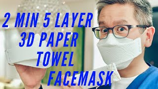2 Minute 5 Layer 3D No-Sew Paper Towel Face Mask #Masks4all