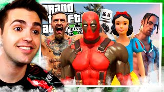 *ATRAPANDO A FAMOSOS en el GTA 5 !! 💢❗️😱 (Deadpool, Blanca Nieves, Conor Mcgregor, Travis Scott)*
