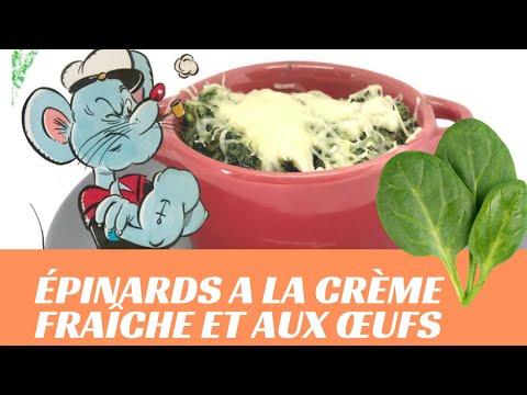 Épinards-a-la-crème-fraîche-et-aux-œufs---simple-et-rapide-(-la-cuisine-de-francine-)