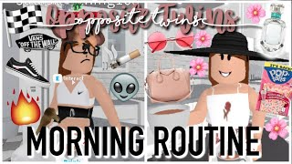 Rotina da manhã do gêmeo oposto 2019! | Roblox Bloxburg | Arabellaa
