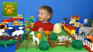 Лего Дупло Большой Зоопарк Животные для Детей  Распаковка Обзор Видео для Детей  Lion boy