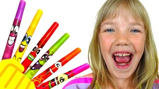 Nastya and Eva pretends to play with magic pen - Preschool toddler learn color on  Baby Time.