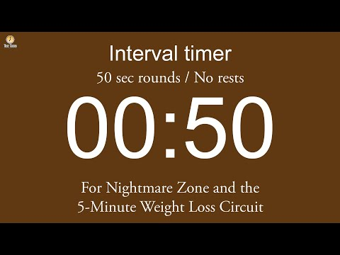 Interval timer - 50 sec rounds / No rests / Flexible length (Single beep version)