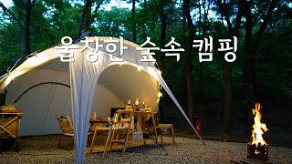 비 내리는 숲속에서 캠핑   여울지숲속캠핑장   P6사…