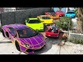 GTA 5 - Stealing Luxury Lamborghini Cars with Franklin! (Real Life Cars #05)