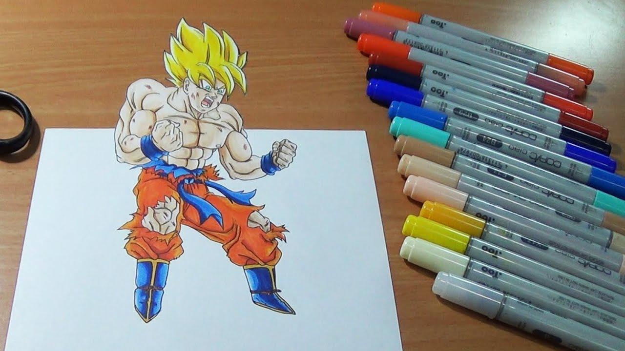 Drawing Goku Super Saiyan In 3d Youtube