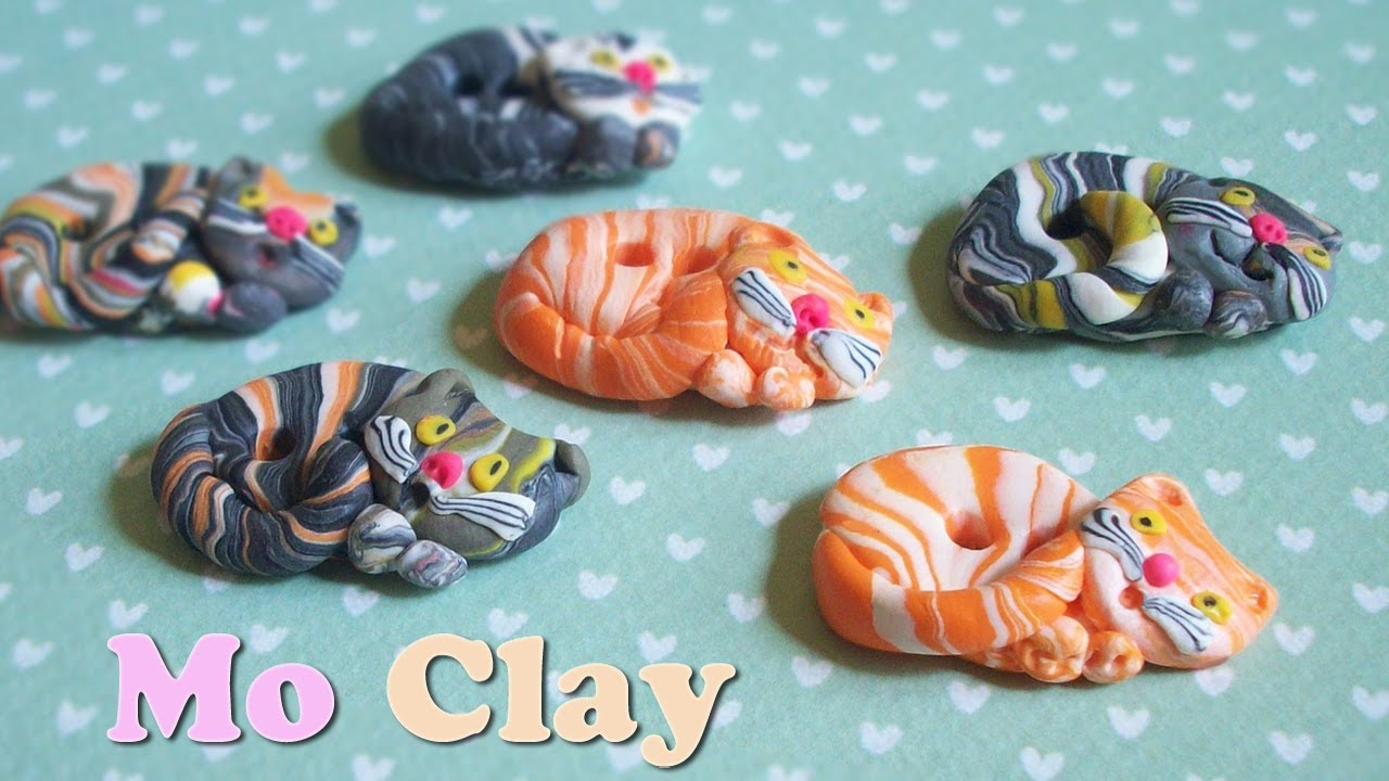 DIY Polymer clay buttonsBottoni con gatto in paste sintetiche