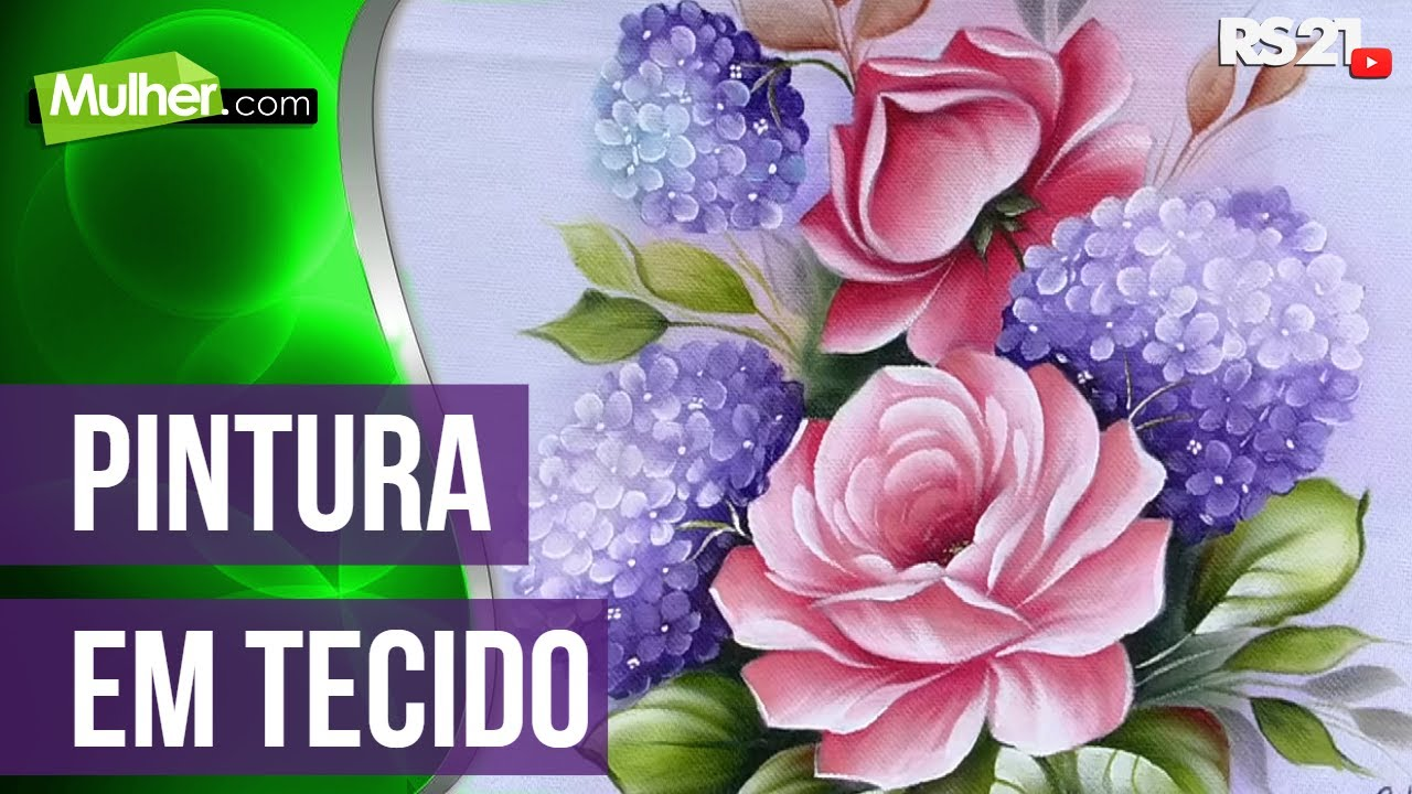 Pintura De Tecido Rosas Hortensias Por Ana Laura Rodrigues 29 05