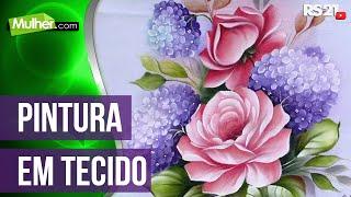 Pintura de tecido rosas hortensias por Ana Laura Rodrigues