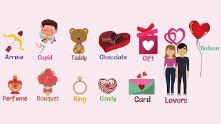 Valentine words! https://7esl.com/valentines-day-vocabulary/learn useful valentine's day vocabulary words with pictures:• gift• perfume• candy• balloon• card...