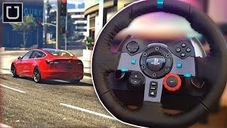I drive as an UBER DRIVER with a STEERING WHEEL! GTA V (LOGITECH G29)