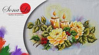 Velas com Rosas em Tecido por Sonalupinturas