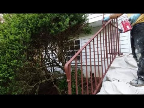 Painting Rusty Wrought Iron Railing Using Rusty Metal