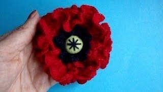 Как вязать мак Урок 23 Вязание крючком Crochet poppy flower