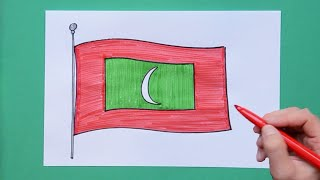 How to draw and color National Flag of Maldives