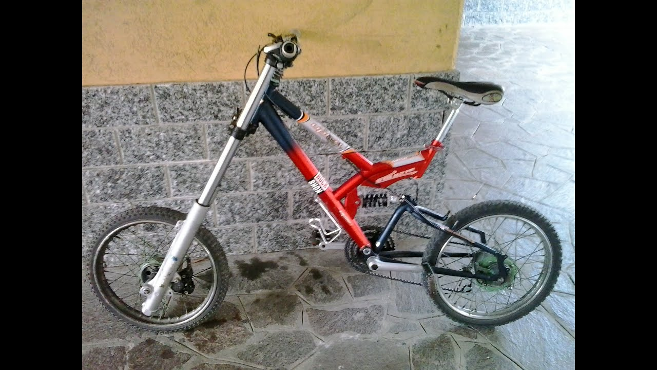 Dirt Bike Fork On Bycicle Marzocchi Mtb Dawhnill Home Made Youtube