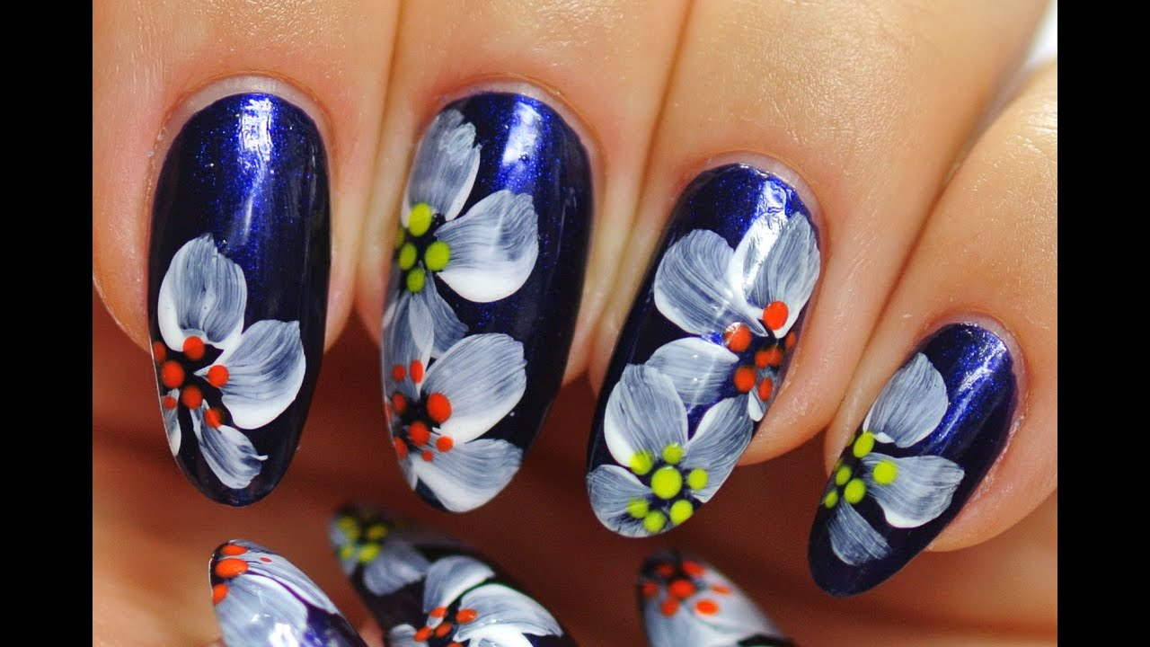 Nail Art. Simple Design. White Flowers. - YouTube