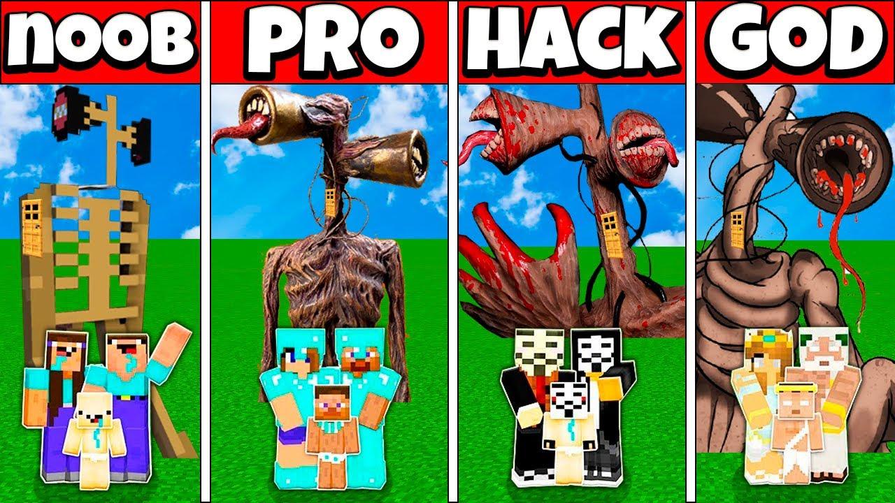 Minecraft Battle: FAMILY SIREN HEAD HOUSE CHALLENGE - NOOB vs PRO vs HACKER vs GOD Animation PART 2
