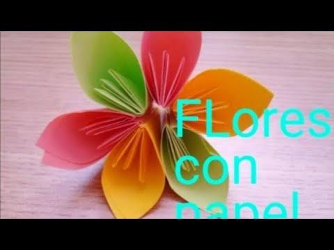 Flores Con Hojas De Colores Muy Facil Youtube