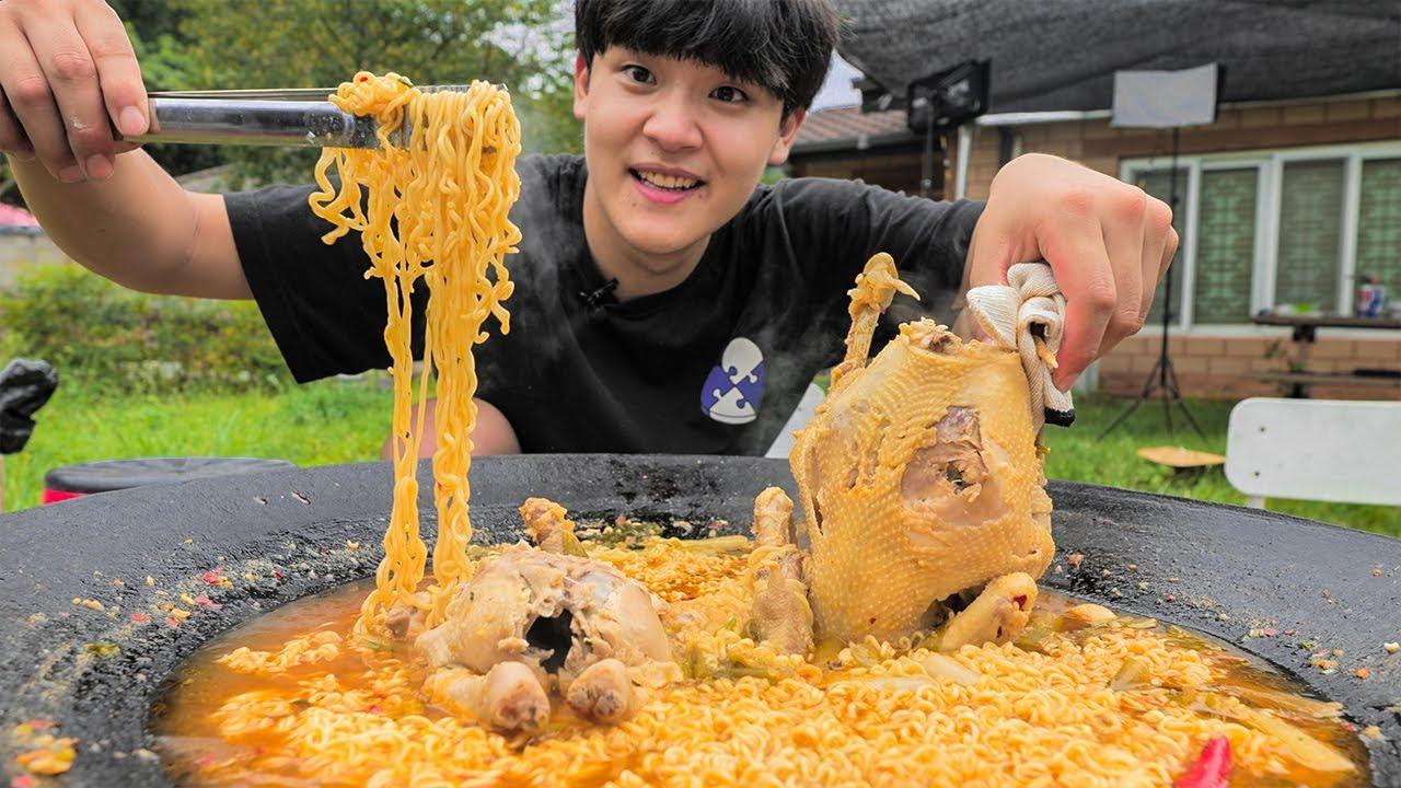 솥뚜껑 닭라면 먹방. 역대급 라면 레시피 찾았습니다. ?#2