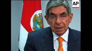 Ap I/v With Crican President Arias, Comment On Honduras