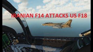 Iran Fighter Jet Attacks US Navy. F-14 Vs F-18. Epic Dog Fight. DCS WORLD SIMULATOR