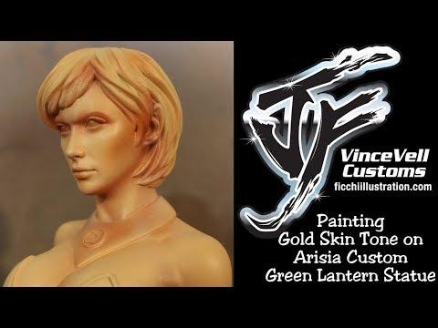 Painting Gold Skin Tone on Arisia Custom Green Lantern Statue