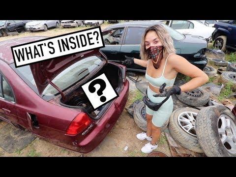 look-what-we-found?!?!---treasure-hunting-car-trunks-at-junkyard-part-2!