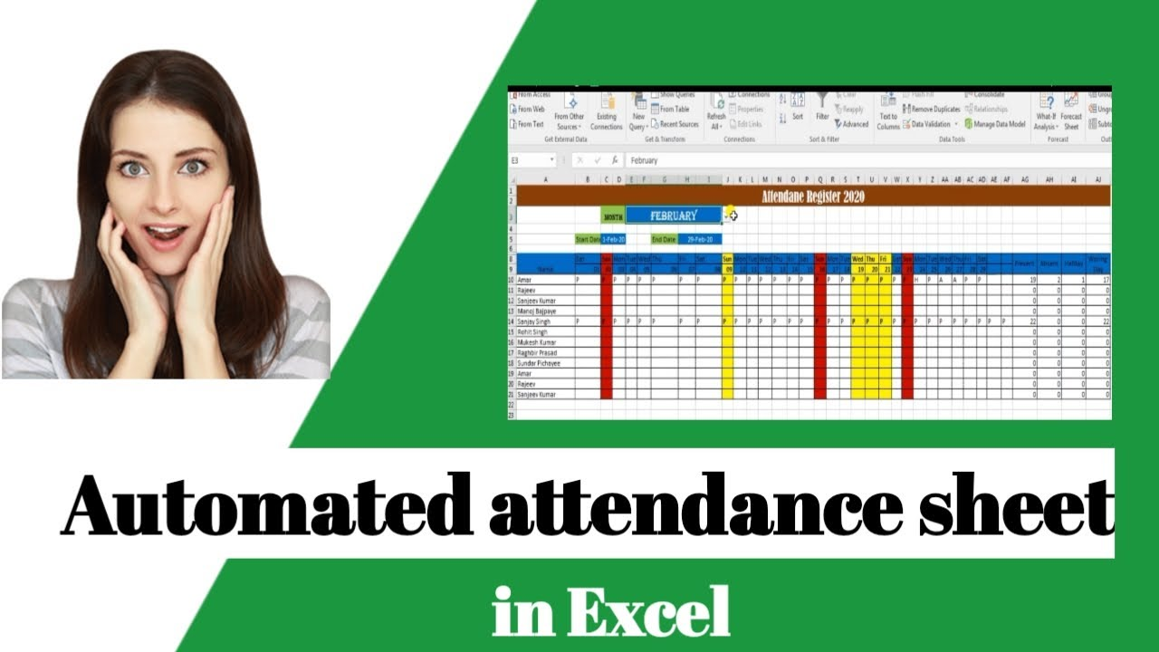 How to make  automated attendance sheet in excel ? attendance and leave management