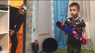 Nerf game The pursuit of the joker who stole the briefcase Погоня за джокером