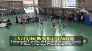 Cestoball: Corrientes 86 vs Bs As 50, categoría Cadetas 5° puesto Campeonato Argentino