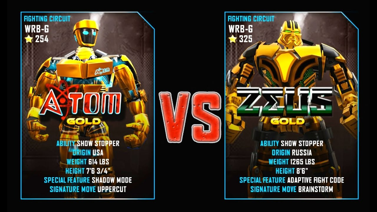 REAL STEEL WRB Atom Gold VS ZEUS Gold New Robots GOLD UPDATE    YouTube
