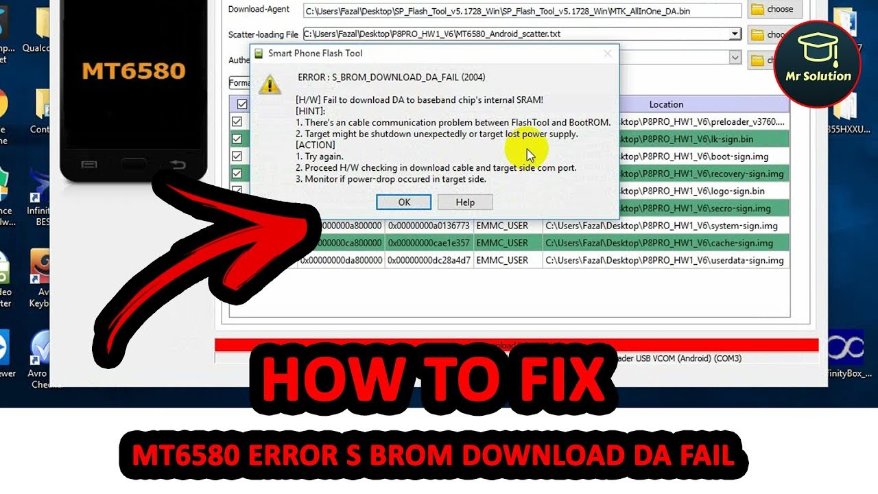 How To Solve SP Flash Tools MT6580 ERROR S_BROM_DOWNLOAD_DA_FAIL (2004)