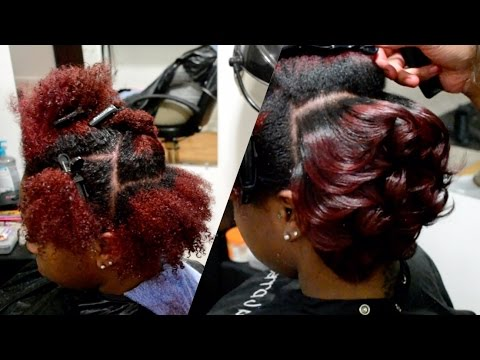 amber-red-+-body-curls-on-natural-hair-|-#salonwork