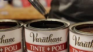 Aplicación sobre Madera de Tinte + Poliuretano Varathane.