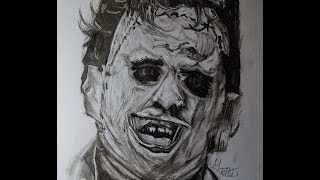 A Charcoal Leatherface drawing.