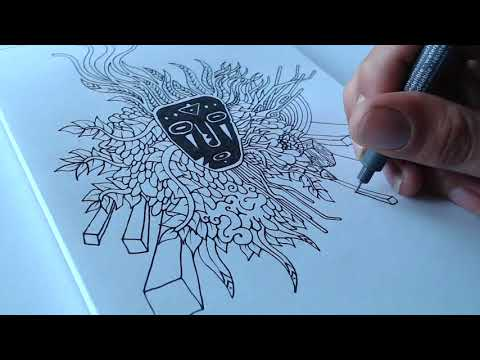 African Mask and Jungle Vibes - Time Lapse Drawing