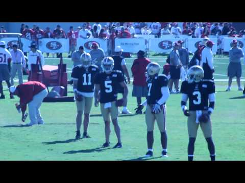 QBs practice drop backs  - 49ers Training Camp 8 2 2010.MOV