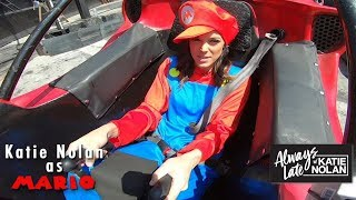 Gambar cover Katie Nolan's real-life Mario Kart race ends in dramatic photo finish   Always Late with Katie Nolan