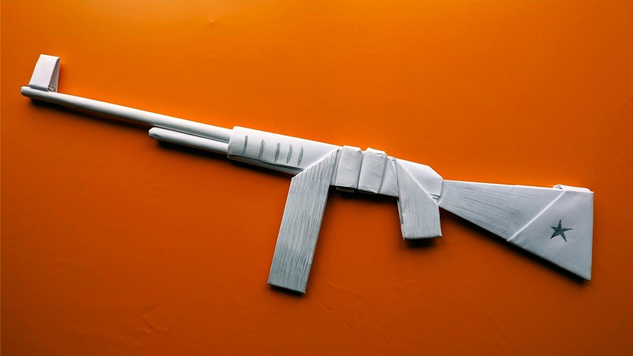 Автомат Калашникова из бумаги Как сделать АК 47 из бумаги Самоделки своими руками Оригами Автомат