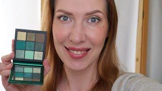 huda green eyeshadow Зеленый макияж глаз с палеткой Huda Beauty Emerald Obsessions