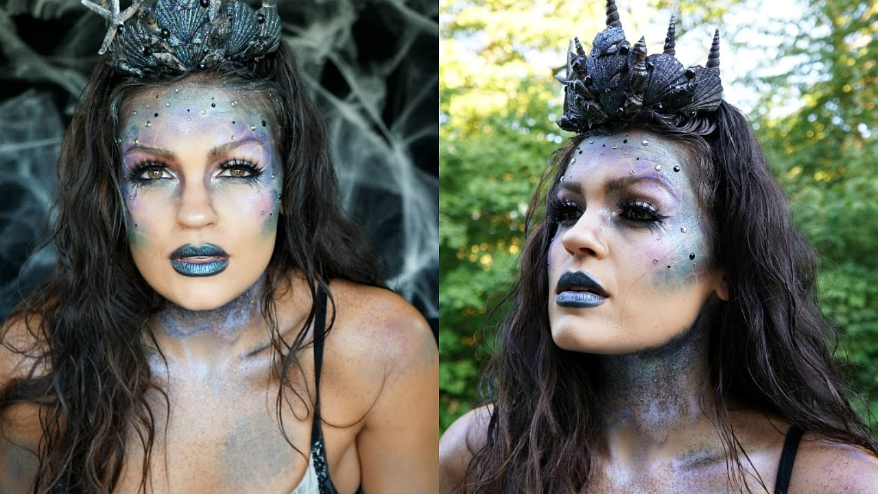 Dark Glittery Mermaid Halloween Makeup | Collab with Jessica ...